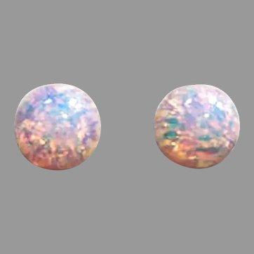 STUNNING German Fire Opal Glass Earrings, RARE 1930's German Fire Opal Glass Beads
