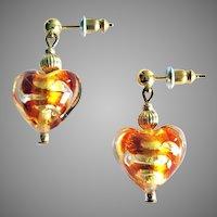 GORGEOUS Venetian Art Glass Earrings, 24K Gold Foil Murano Glass Hearts, Topaz Swirls