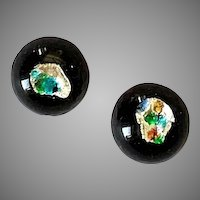 GORGEOUS Czech Art Glass Earrings, RARE 1960's Czech Silver Foil Glass Beads