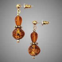 DAZZLING Venetian Art Glass Earrings, RARE 1800's Antique 24k Gold Foil Amber Venetian Glass Beads