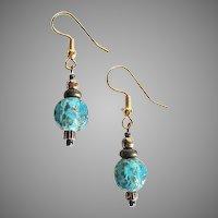 STUNNING Venetian Art Glass Earrings, Rare 1930's Aventurine Murano Glass Beads