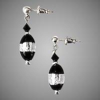 DAZZLING Czech Art Glass Earrings, Rare 1970's Czech Silver Foil Beads