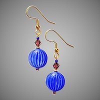 STUNNING Czech Art Glass Earrings, RARE 1930's Czech Glass Beads