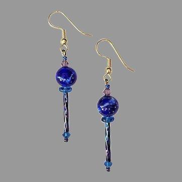 GORGEOUS Venetian Art Glass Earrings, RARE 1930's Venetian Silver Foil Glass Beads