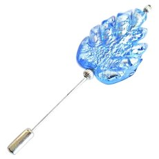 ELEGANT Venetian Art Glass Stick Pin, Silver Foil Murano Glass Bead, Sapphire Blue Leaf