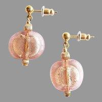 STUNNING Venetian Art Glass Earrings, 24K White Gold Foil Murano Glass Beads