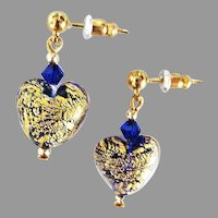 STUNNING Venetian Art Glass Earrings, Cobalt Blue 24K Gold Foil Murano Glass Hearts
