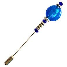 DAZZLING Czech Art Glass Stick Pin, RARE 1970's Czech Silver Foil Bead