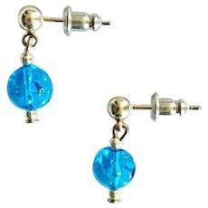 GORGEOUS Venetian Art Glass Earrings, Rare 1970's Venetian Glass Beads