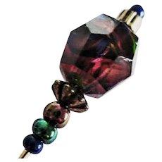 STUNNING Czech Art Glass Stick Pin, RARE 1930's Czech Glass Bead