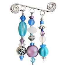 STRIKING Venetian & Czech Art Glass Pin, RARE 1930's & 1960's Venetian & Czech Glass Beads, Handcrafted Sterling Silver