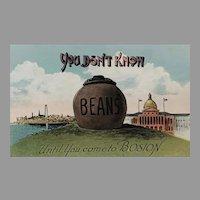 RARE 1900's 'You Don't Know Beans Until You Come To Boston' Antique Postcard, Souvenir, Tourism, Boston City Hall, Massachusetts, UNUSED