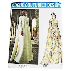 1971 FABIANI Vogue Couturier Design Pattern 2537, Misses' Empire Waist Evening Gown-Two Styles, Size 12, Bust 34, Rare Vogue Couturier Label, UNCUT