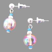 Gorgeous Czech Art Glass Earrings, RARE 1950's AB Czech Glass Beads