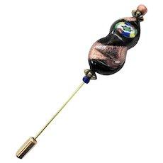 STRIKING Venetian Art Glass Stick Pin, RARE 1800's Antique Venetian Glass Bead, Millefiori, Aventurine