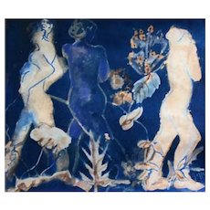 "STUNNING Original Cyanotype 'Spirits' by Judith Jaffe, Signed, Female Nude, Botanical, Floral, Nature, ""Eve and her Sisters"" Series, Original Art, One-of-a-Kind"