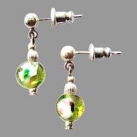 STUNNING Venetian Art Glass Earrings, RARE 1920's Antique Venetian Silver Foil Glass Beads