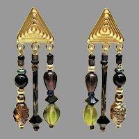 STRIKING Czech Art Glass Earrings, RARE 1930's & 1960's Czech Glass Beads, Handcrafted Sterling Silver & Gold