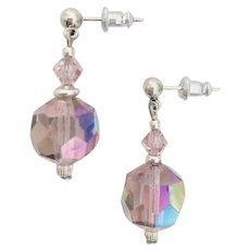 GORGEOUS Czech Art Glass Earrings, RARE 1950's Czech Aurora Borealis Glass Beads