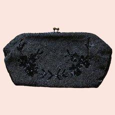 DESIGNER 1930's Jorelle Evening Bag, Authentic, Hand Beaded in Belgium, Gunmetal, Clutch, RARE