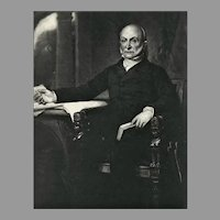 RARE 1907 'John Quincy Adams' Presidential Portrait, Original Gravure Print, Antique Print, Painting by Healy, White House Gallery of Official Portraits