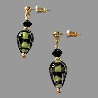 STRIKING Czech Art Glass Earrings,  RARE Olivine Czech Glass Beads
