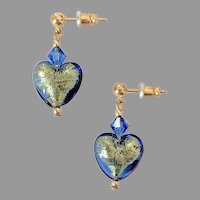 STUNNING Venetian Art Glass Earrings, Sapphire 24K Gold Foil Murano Glass Hearts