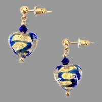 GORGEOUS Venetian Art Glass Earrings, 24K Gold Foil Murano Glass Hearts
