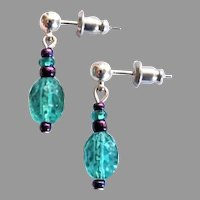 STUNNING Czech Art Glass Earrings, RARE 1930's Czech Textured Glass Beads