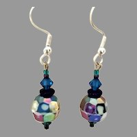 GORGEOUS Czech Art Glass Earrings, RARE 1950's Czech AB Glass Beads