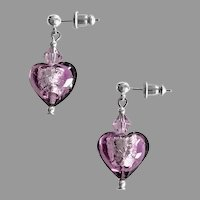 STUNNING Venetian Art Glass Earrings, Amethyst Silver Foil Murano Glass Hearts