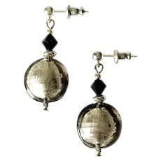 STUNNING Venetian Art Glass Earrings,  Charcoal Gray Silver Foil Murano Glass