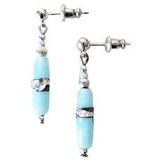 GORGEOUS Venetian Art Glass Earrings, RARE Antique Silver Foil Venetian Glass Beads