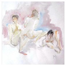 STUNNING Nude Original Watercolor Painting by Judith Jaffe, Signed, Three Nude Women, Original Art, One-of-a-Kind