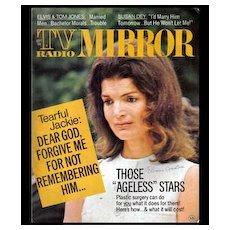 Sept 1972 'TV Radio Mirror' Hollywood Magazine - Jackie Kennedy /  Elvis Presley