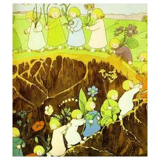 1930`When the Root Children Wake Up' 1st Ed, Chromolithograph Art Prints, 100 Year Best Picture Book