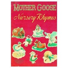 RARE 1948 Mother Goose Nursery Rhymes, Illustrated - Poetry, Linenette, Mother Hubbard, King Cole,  Vintage