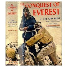RARE 1954 1st Ed The Conquest of Everest w/ DJ 'Sir John Hunt' - Sir Edmond Hillary / Mount Everest / Photographs