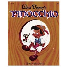 "1948 1st Ed Walt Disney's 'Pinocchio' Little Golden Book #D100 - RARE ""A"", 39 Cent / Movie / Warner Bros"