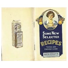 RARE 1930's Baker Extract Cookbook, Advertising, Lithograph Illustrations, Chocolate