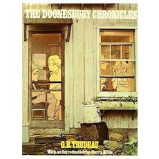 1975 'Doonesbury Chronicles', RARE First Edition, First Printing, G. B. Trudeau Comic Strip, Cartoonist, Original Dustjacket, Vintage