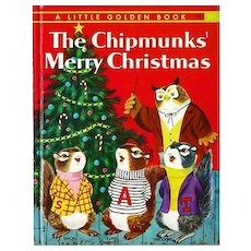 """1959 'The Chipmunks' Merry Christmas' Little Golden Book """"A"""" First Printing, Richard Scarry Early Illustrations"""