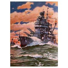 1943 'Fighting Ships of the U.S.A.', Rare DJ, Charles Rosner Paintings, Military Art, Navy, Military, Marines, Coast Guard, Victor F Blakeslee