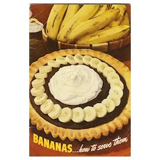 SCARCE 1947 Advertising Cookbook 'Bananas' -  Illustrated / Recipes / Vintage / Fruit