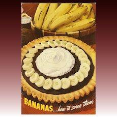 SCARCE 1947 Advertising Cookbook 'Bananas' -  Illustrated / Recipes / Vintage / Fruit