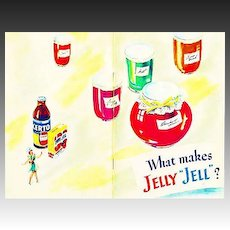 "1951 'General Foods' What Makes Jelly ""Jell""? Cookbook, Illustrated, Certo, Sure Jell, Recipes, Canning, Advertising, Desserts, Ice Cream, RARE"