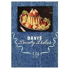 RARE 1948 'Davis Dainty Dishes' Cookbook, First Edition, Lithograph Illustrations, Advertising, Davis Gelatine Factory, Botany Bay, Sydney Australia, Entertaining, Holiday, Desserts, Cocktails, OUT-of-PRINT