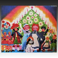 1952 'Raggedy Ann's Merriest Christmas', RARE First Edition, Johnny Gruelle, Lithograph Illustrations, Santa Clause, Puppy, Holiday Stories, Wonder Book #594, Out-of-Print
