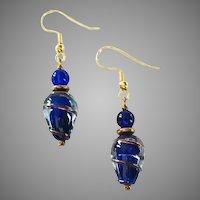 MOD Czech Art Glass Earrings, RARE 1970's Czech Lampwork Glass Beads, Copper Swirls