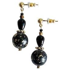 GORGEOUS Venetian Glass Earrings, RARE 1930's Venetian Glass Beads, 1960's Czech Bronze Beads